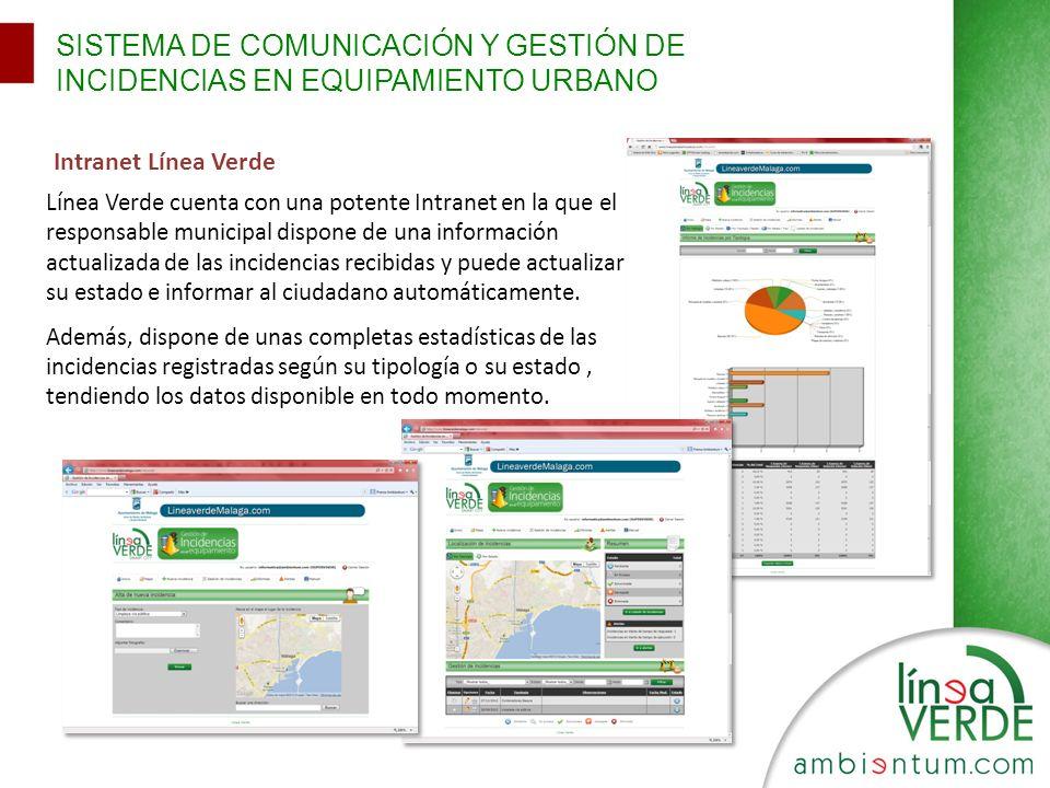 SISTEMA DE COMUNICACIÓN Y GESTIÓN DE INCIDENCIAS EN EQUIPAMIENTO URBANO Intranet Línea Verde Línea Verde cuenta con una potente Intranet en la que el