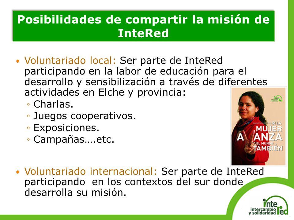 Voluntariado local: Ser parte de InteRed participando en la labor de educación para el desarrollo y sensibilización a través de diferentes actividades en Elche y provincia: Charlas.
