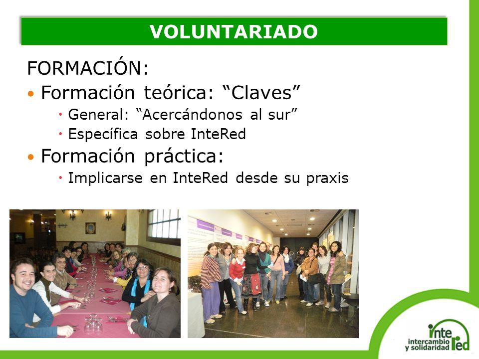 FORMACIÓN: Formación teórica: Claves General: Acercándonos al sur Específica sobre InteRed Formación práctica: Implicarse en InteRed desde su praxis V
