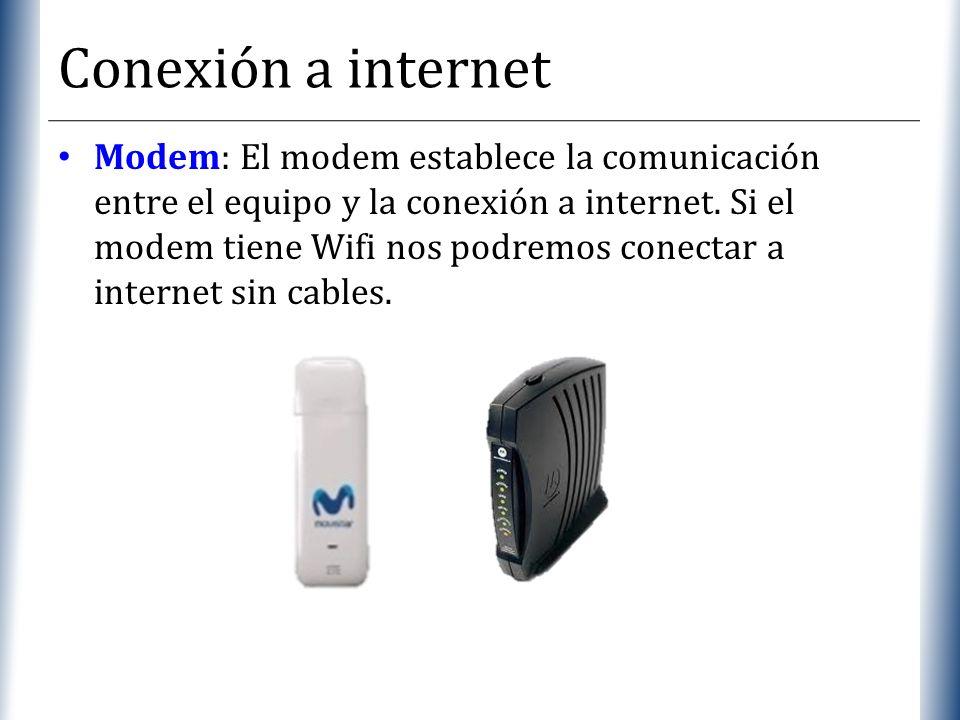 XP Conexión a internet Modem: El modem establece la comunicación entre el equipo y la conexión a internet. Si el modem tiene Wifi nos podremos conecta