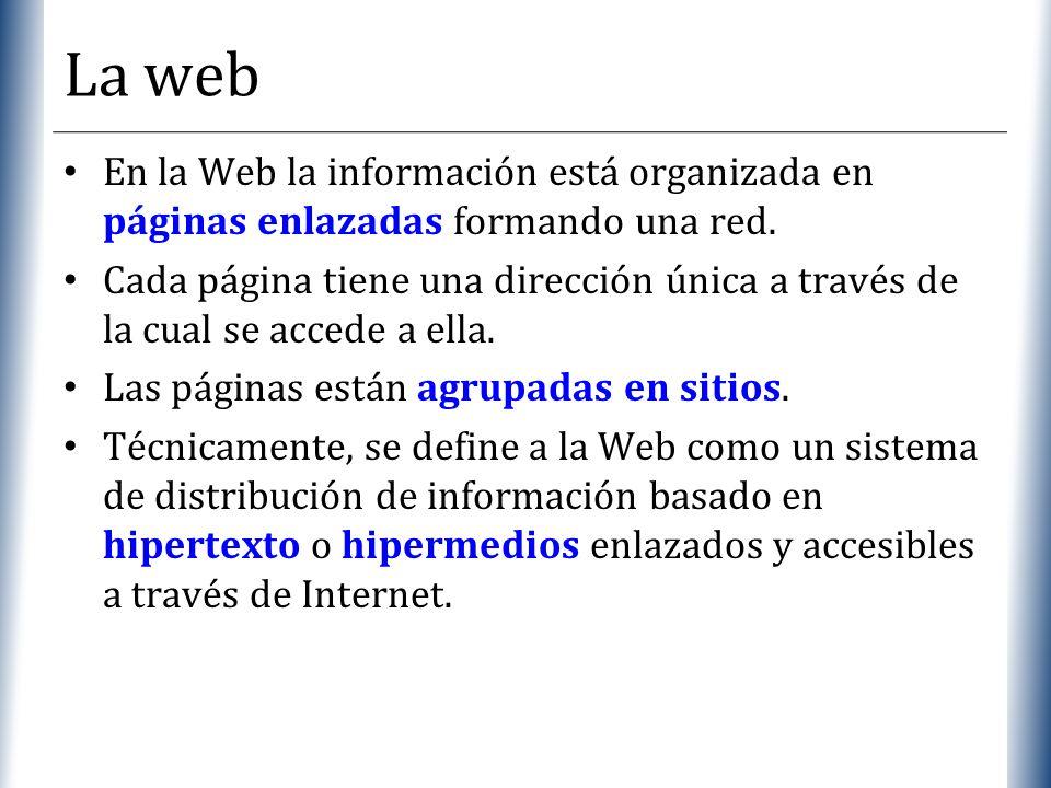 XP La web En la Web la información está organizada en páginas enlazadas formando una red. Cada página tiene una dirección única a través de la cual se