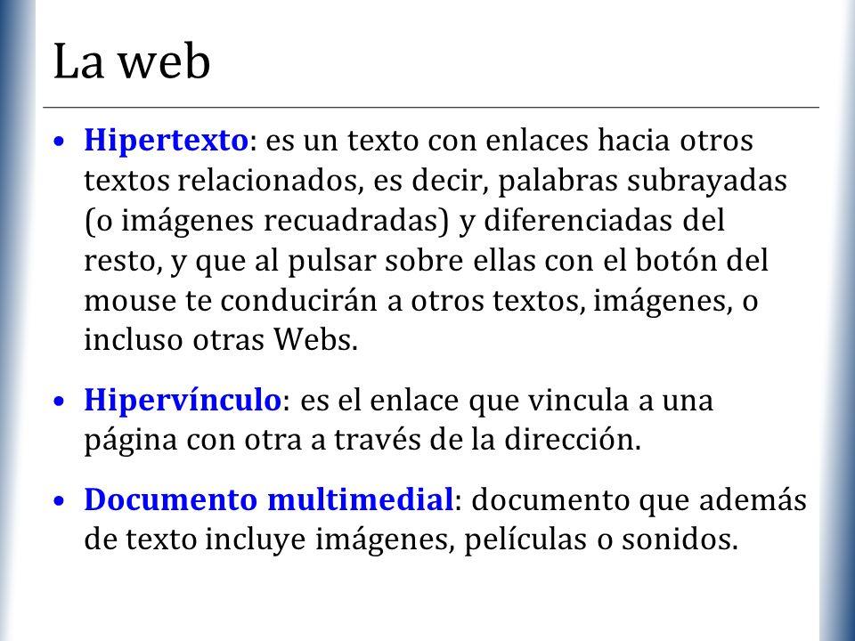 XP La web Hipertexto: es un texto con enlaces hacia otros textos relacionados, es decir, palabras subrayadas (o imágenes recuadradas) y diferenciadas