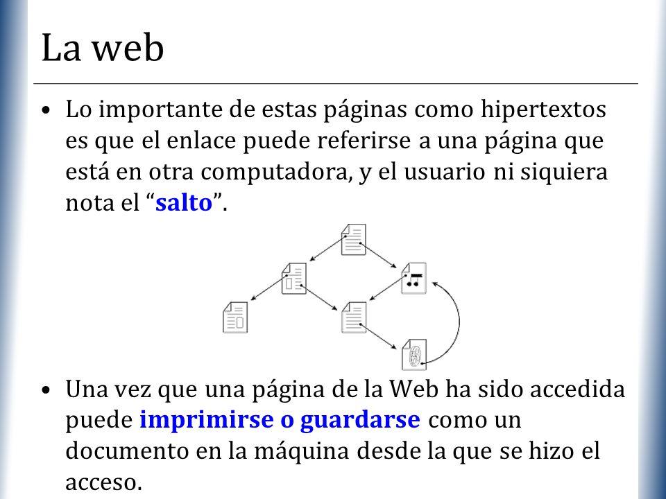 XP La web Lo importante de estas páginas como hipertextos es que el enlace puede referirse a una página que está en otra computadora, y el usuario ni