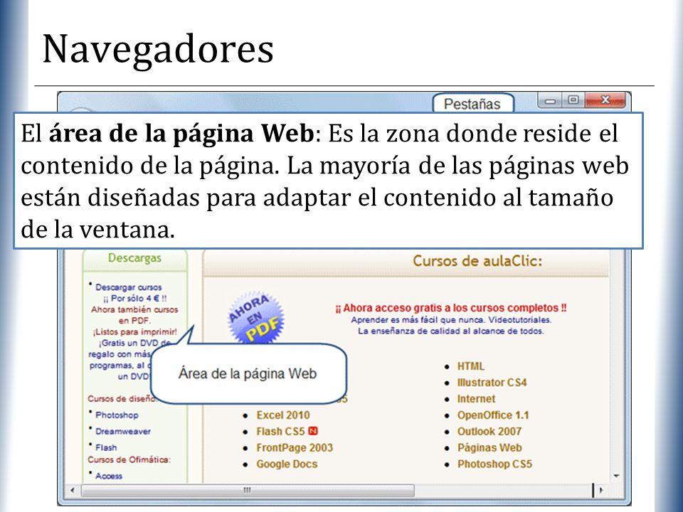 XP Navegadores El área de la página Web: Es la zona donde reside el contenido de la página. La mayoría de las páginas web están diseñadas para adaptar