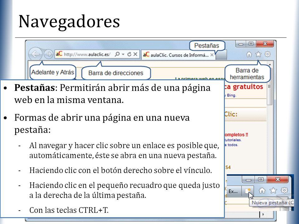 XP Navegadores Pestañas: Permitirán abrir más de una página web en la misma ventana. Formas de abrir una página en una nueva pestaña: -Al navegar y ha