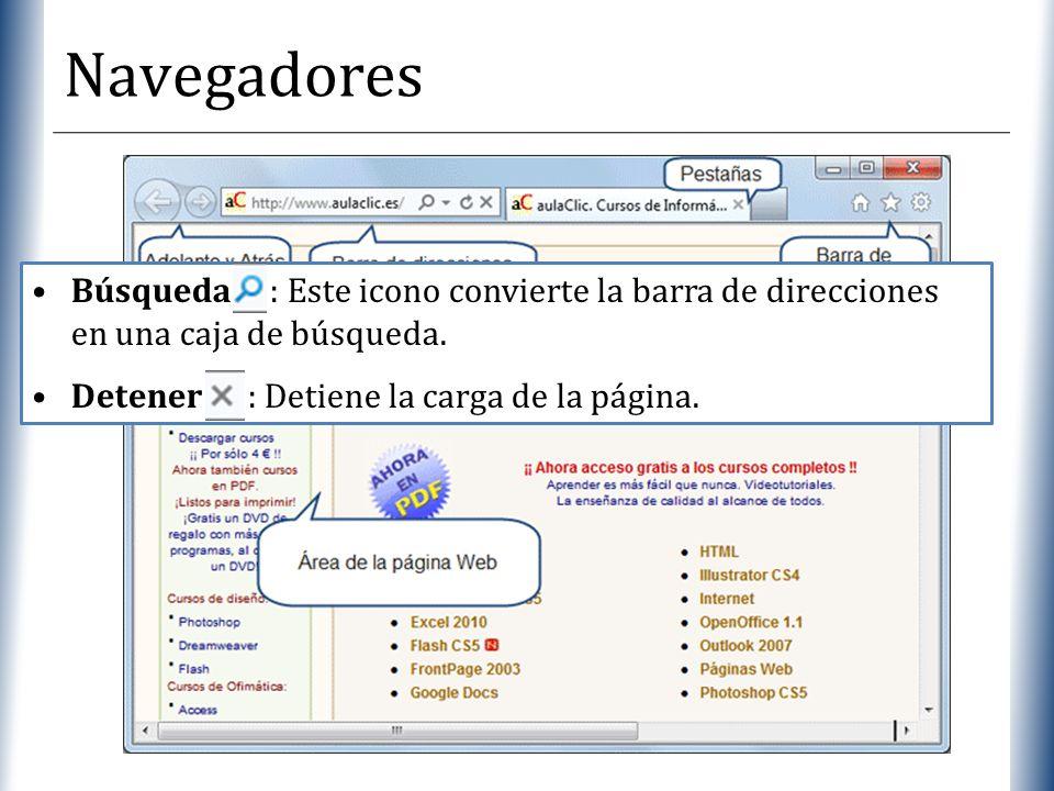 XP Navegadores Búsqueda : Este icono convierte la barra de direcciones en una caja de búsqueda. Detener : Detiene la carga de la página.