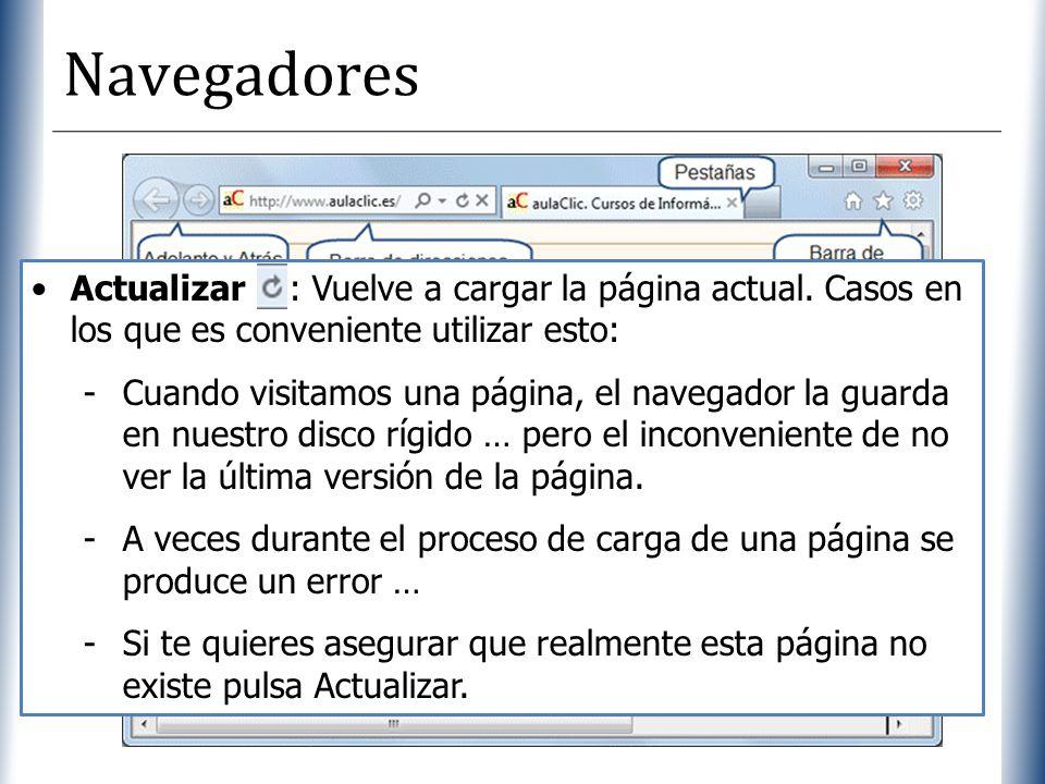 XP Navegadores Actualizar : Vuelve a cargar la página actual. Casos en los que es conveniente utilizar esto: -Cuando visitamos una página, el navegado