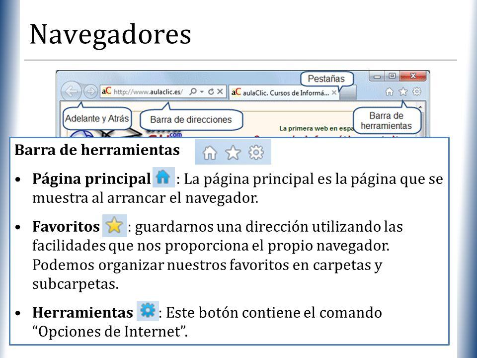 XP Navegadores Barra de herramientas Página principal : La página principal es la página que se muestra al arrancar el navegador. Favoritos : guardarn