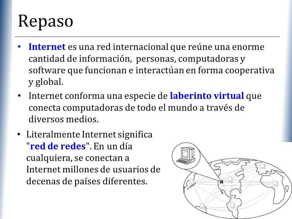XP Repaso Internet es una red internacional que reúne una enorme cantidad de información, personas, computadoras y software que funcionan e interactúa