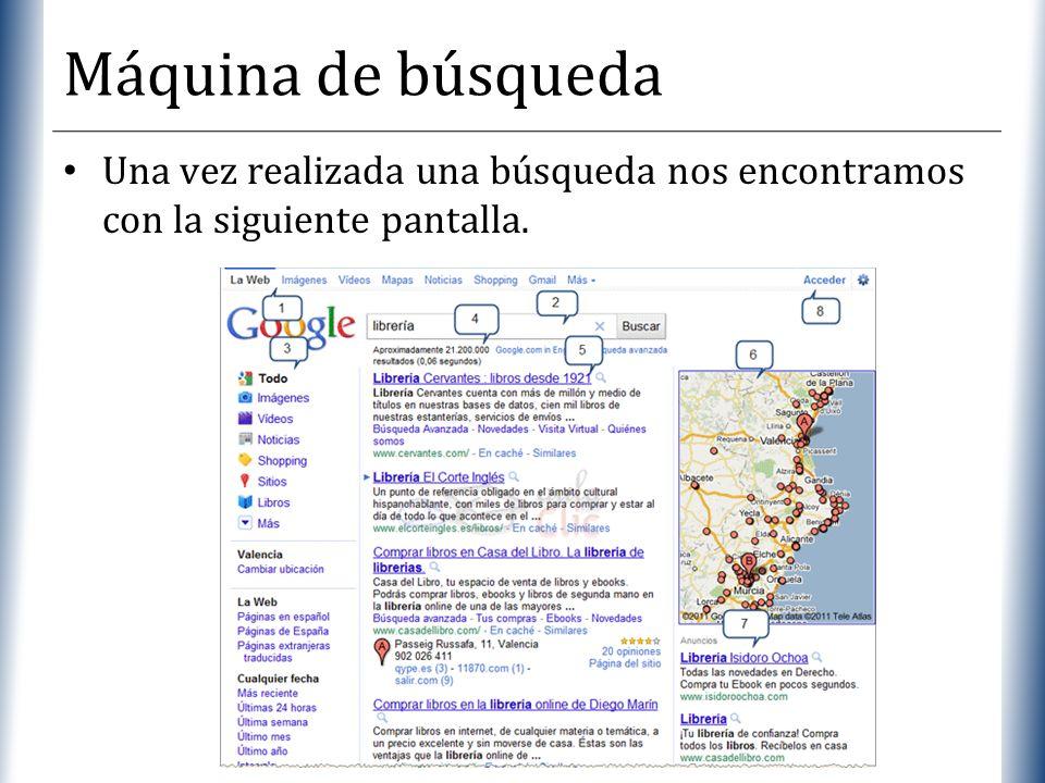 XP Máquina de búsqueda Una vez realizada una búsqueda nos encontramos con la siguiente pantalla.