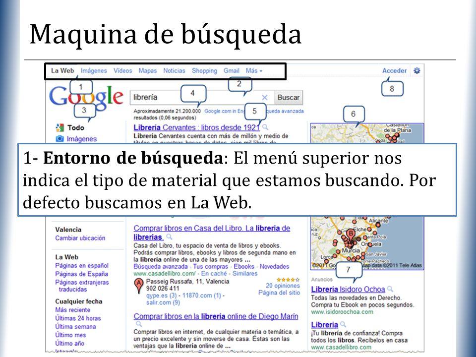 XP Maquina de búsqueda 1- Entorno de búsqueda: El menú superior nos indica el tipo de material que estamos buscando. Por defecto buscamos en La Web.