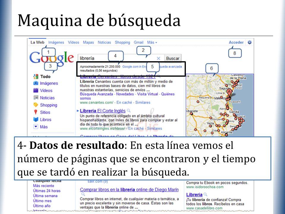 XP Maquina de búsqueda 4- Datos de resultado: En esta línea vemos el número de páginas que se encontraron y el tiempo que se tardó en realizar la búsq