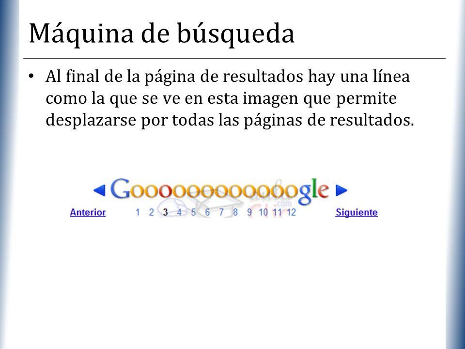 XP Máquina de búsqueda Al final de la página de resultados hay una línea como la que se ve en esta imagen que permite desplazarse por todas las página