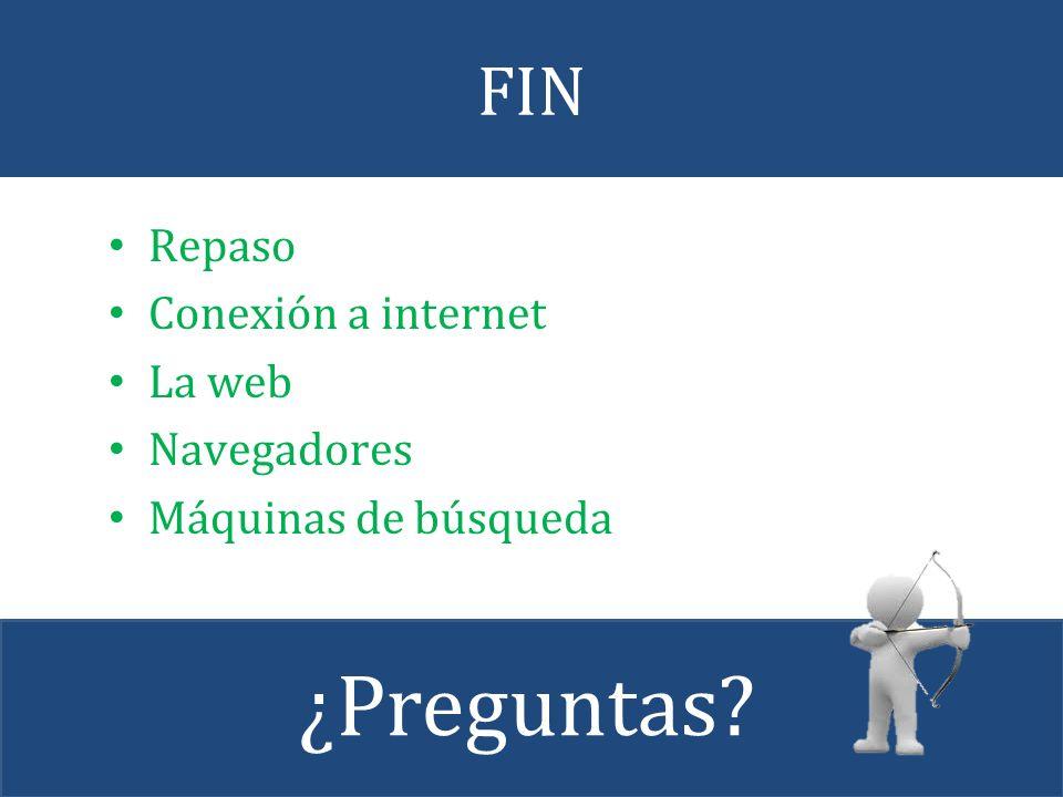 FIN Repaso Conexión a internet La web Navegadores Máquinas de búsqueda ¿Preguntas?