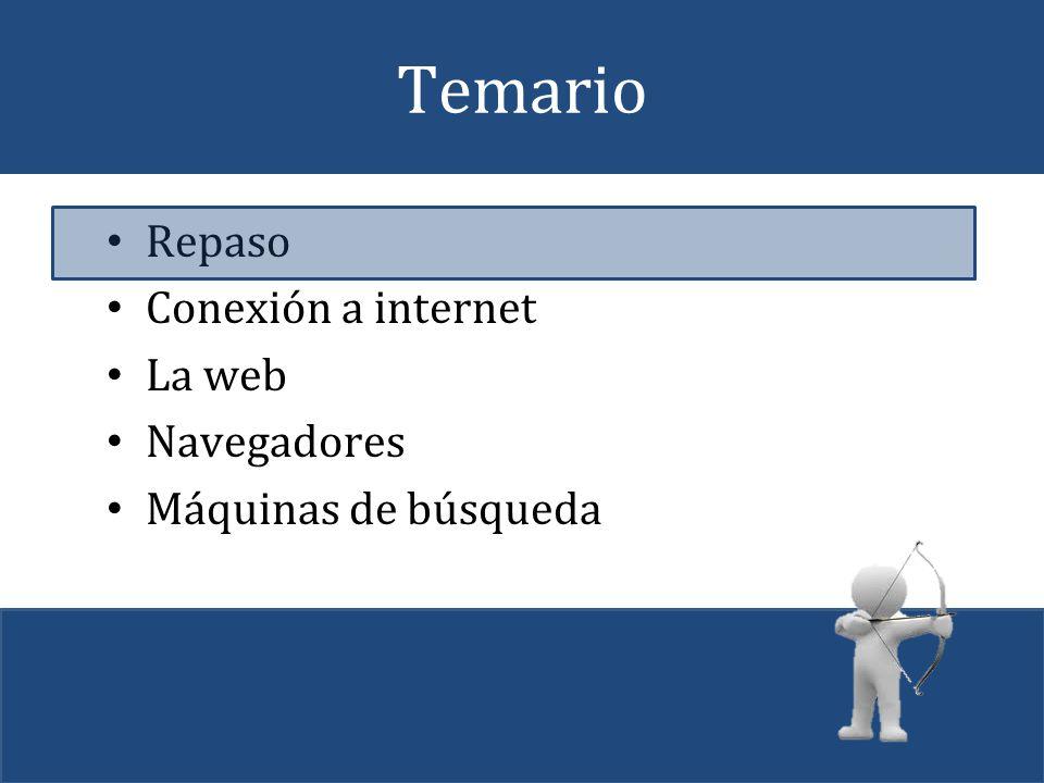 Temario Repaso Conexión a internet La web Navegadores Máquinas de búsqueda
