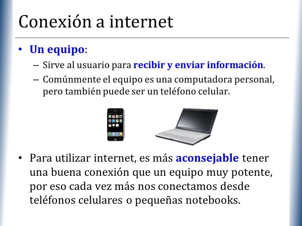 XP Conexión a internet Un equipo: – Sirve al usuario para recibir y enviar información. – Comúnmente el equipo es una computadora personal, pero tambi