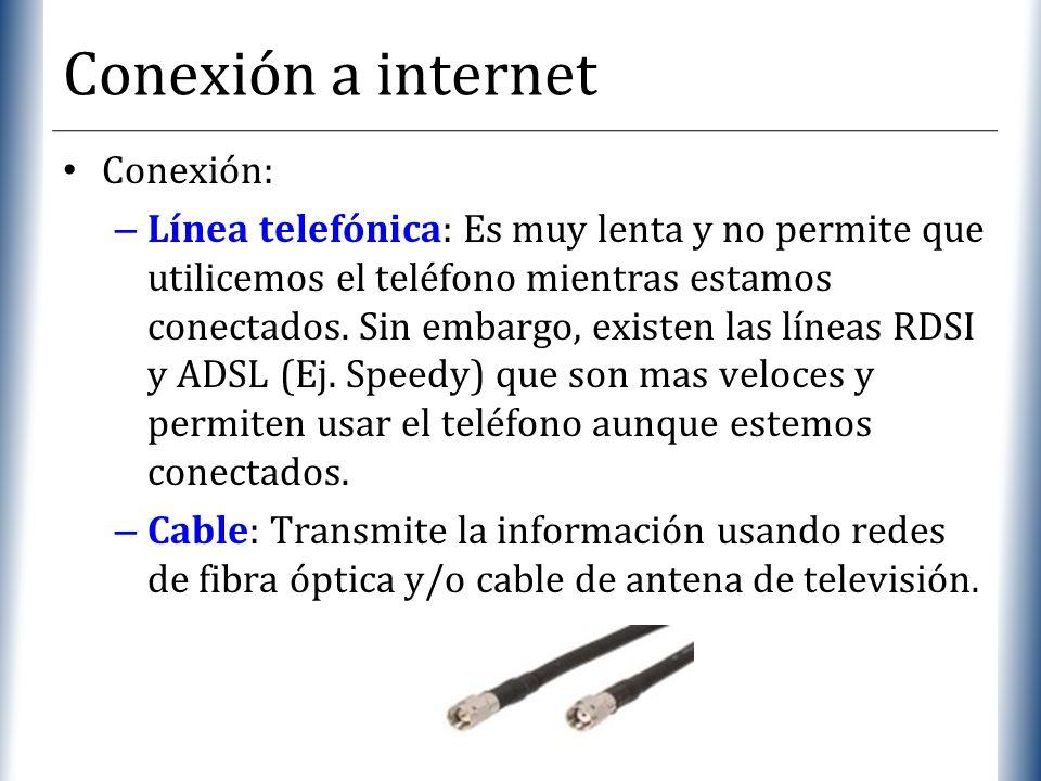 XP Conexión a internet Conexión: – Línea telefónica: Es muy lenta y no permite que utilicemos el teléfono mientras estamos conectados. Sin embargo, ex