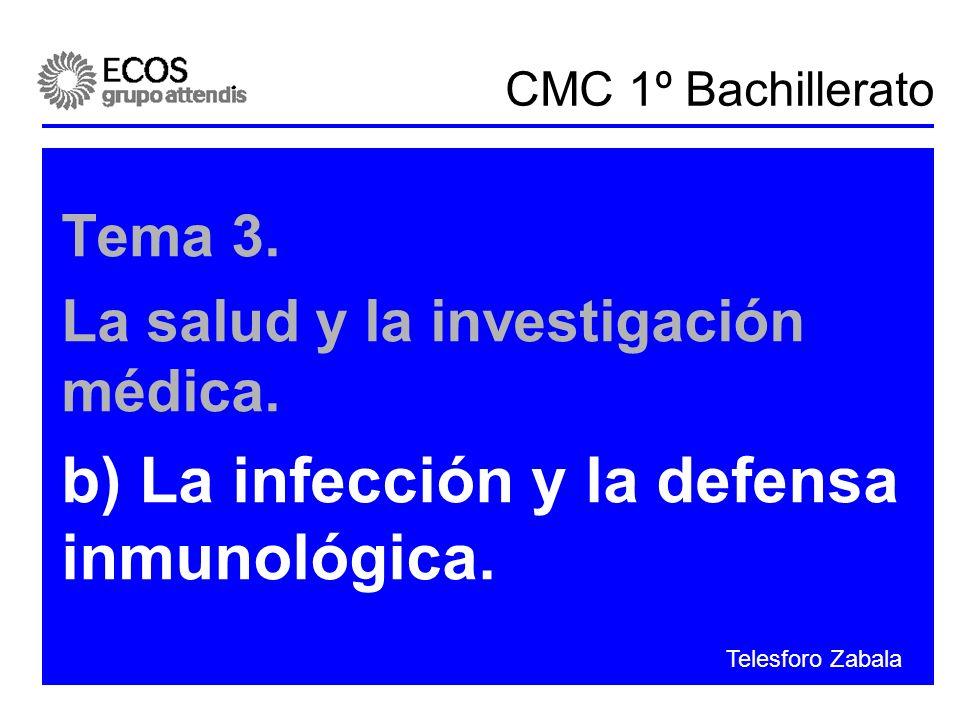 CMC 1º Bachillerato Tema 3. La salud y la investigación médica. b) La infección y la defensa inmunológica. Telesforo Zabala