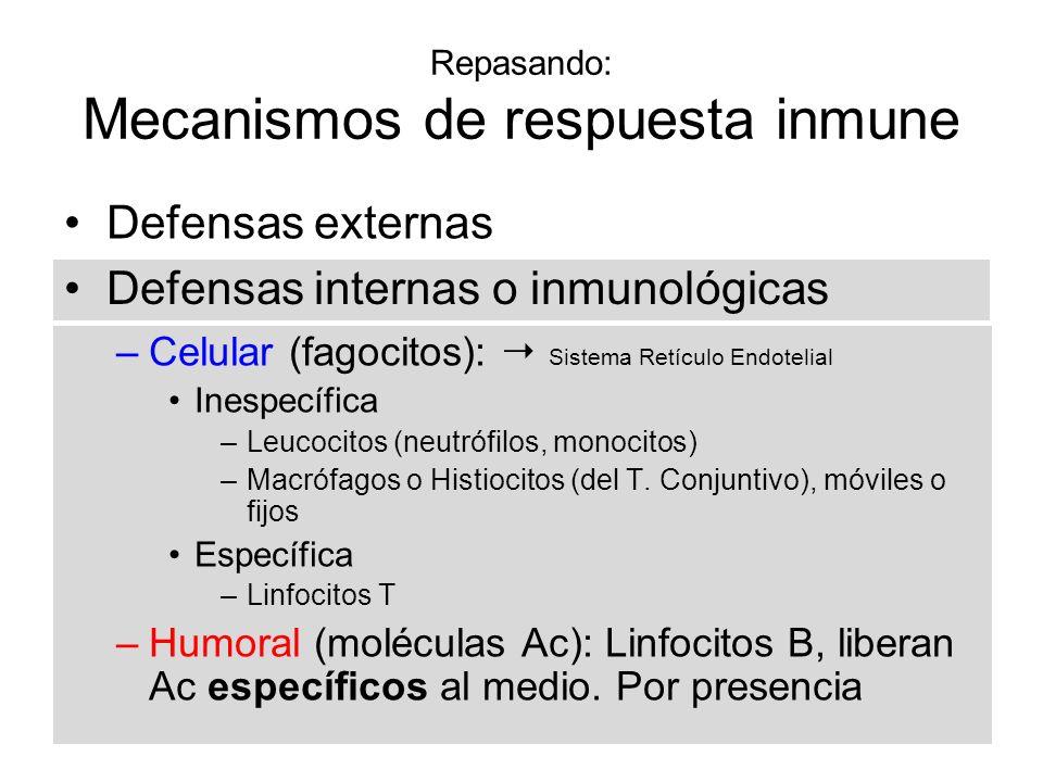 Repasando: Mecanismos de respuesta inmune –Celular (fagocitos): Sistema Retículo Endotelial Inespecífica –Leucocitos (neutrófilos, monocitos) –Macrófa