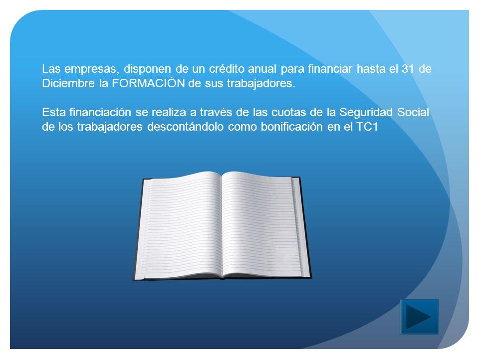 Las empresas, disponen de un crédito anual para financiar hasta el 31 de Diciembre la FORMACIÓN de sus trabajadores.