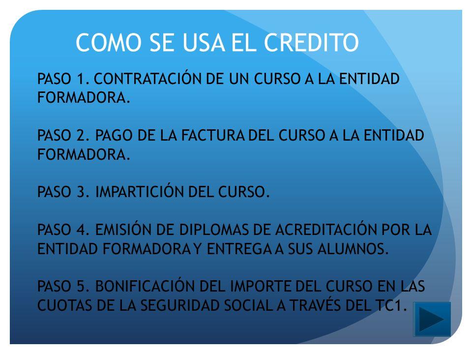 COMO SE USA EL CREDITO PASO 1. CONTRATACIÓN DE UN CURSO A LA ENTIDAD FORMADORA.