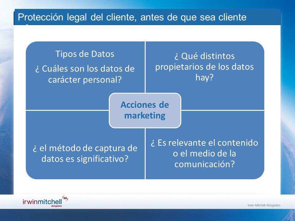 Protección legal del cliente, antes de que sea cliente Tipos de Datos ¿ Cuáles son los datos de carácter personal.