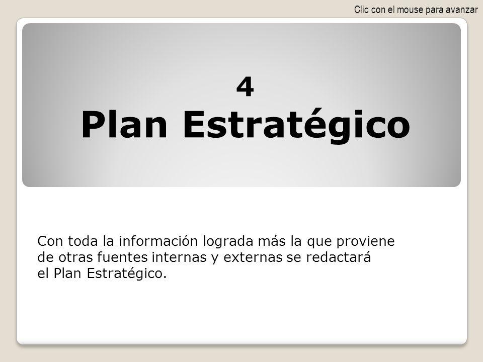 Con toda la información lograda más la que proviene de otras fuentes internas y externas se redactará el Plan Estratégico. 4 Plan Estratégico Clic con