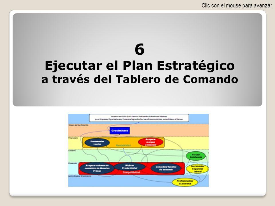 6 Ejecutar el Plan Estratégico a través del Tablero de Comando Clic con el mouse para avanzar