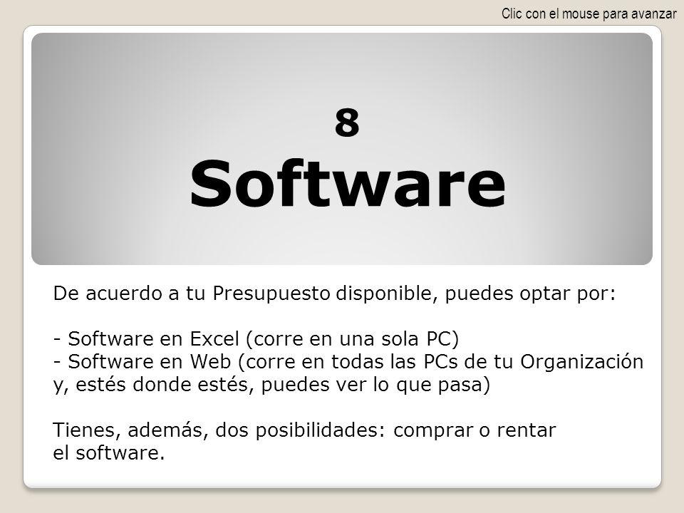 De acuerdo a tu Presupuesto disponible, puedes optar por: - Software en Excel (corre en una sola PC) - Software en Web (corre en todas las PCs de tu O