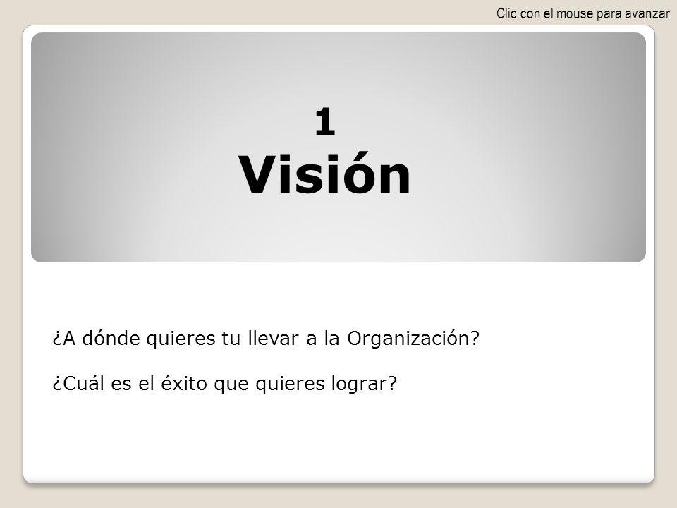 ¿A dónde quieres tu llevar a la Organización? ¿Cuál es el éxito que quieres lograr? 1 Visión Clic con el mouse para avanzar