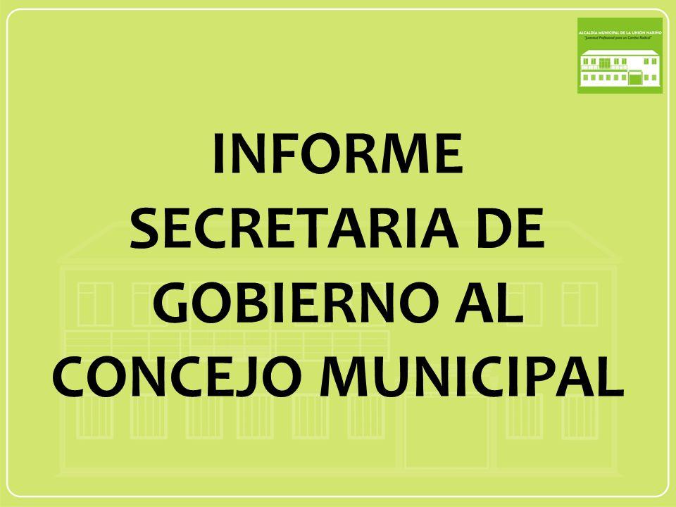 INFORME SECRETARIA DE GOBIERNO AL CONCEJO MUNICIPAL