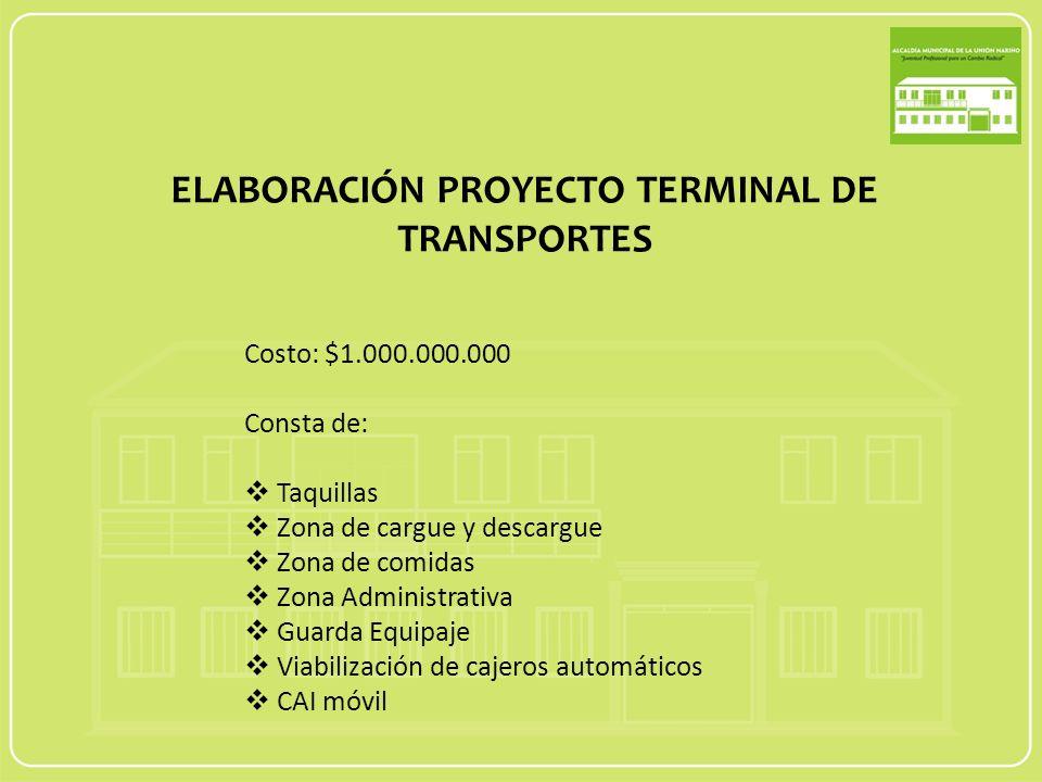 ELABORACIÓN PROYECTO TERMINAL DE TRANSPORTES Costo: $1.000.000.000 Consta de: Taquillas Zona de cargue y descargue Zona de comidas Zona Administrativa Guarda Equipaje Viabilización de cajeros automáticos CAI móvil