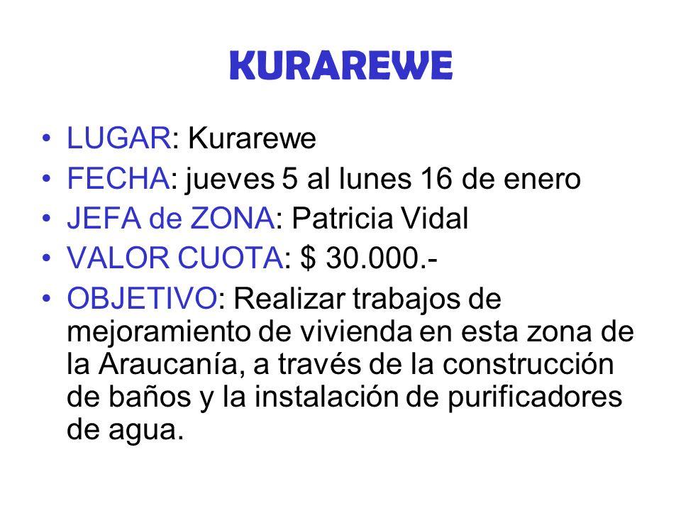 KURAREWE LUGAR: Kurarewe FECHA: jueves 5 al lunes 16 de enero JEFA de ZONA: Patricia Vidal VALOR CUOTA: $ 30.000.- OBJETIVO: Realizar trabajos de mejoramiento de vivienda en esta zona de la Araucanía, a través de la construcción de baños y la instalación de purificadores de agua.