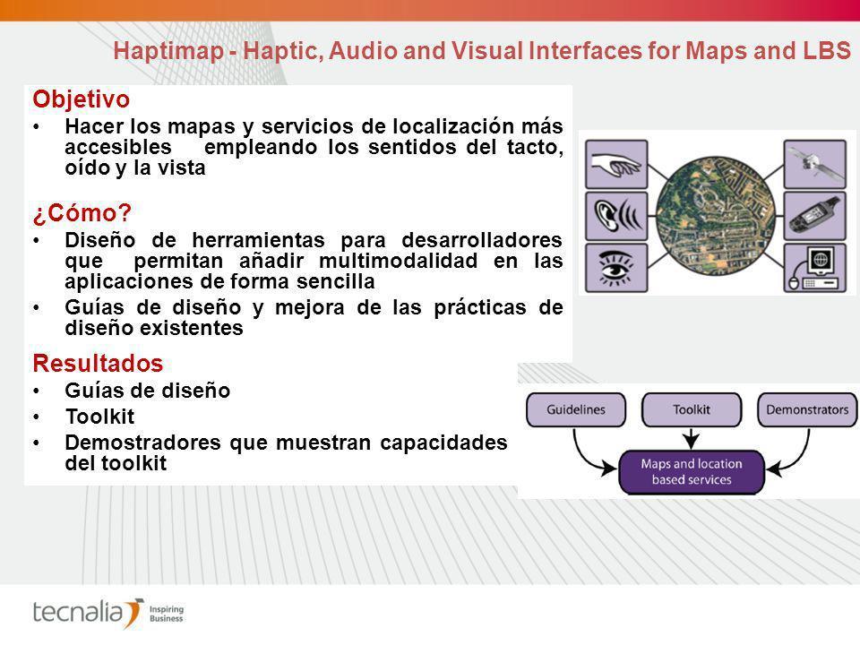 Objetivo Hacer los mapas y servicios de localización más accesibles empleando los sentidos del tacto, oído y la vista ¿Cómo.