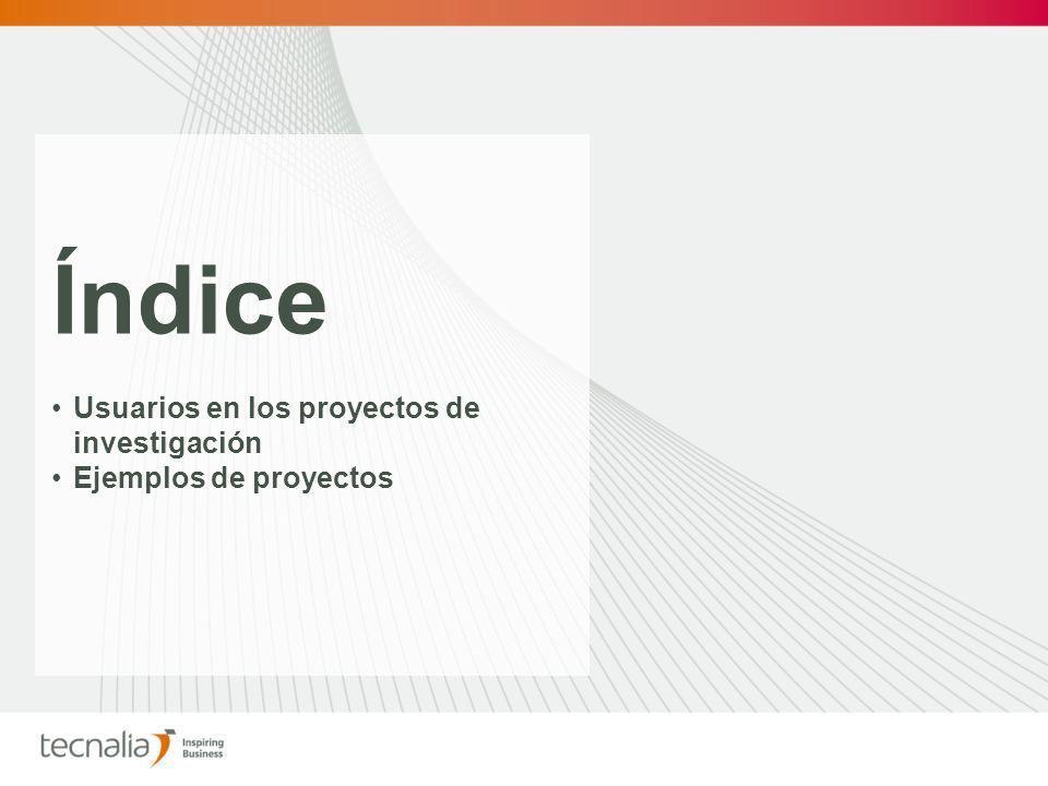 Índice Usuarios en los proyectos de investigación Ejemplos de proyectos