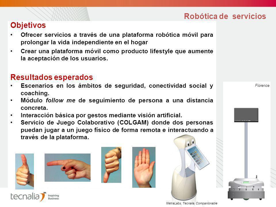 Robótica de servicios Objetivos Ofrecer servicios a través de una plataforma robótica móvil para prolongar la vida independiente en el hogar Crear una plataforma móvil como producto lifestyle que aumente la aceptación de los usuarios.
