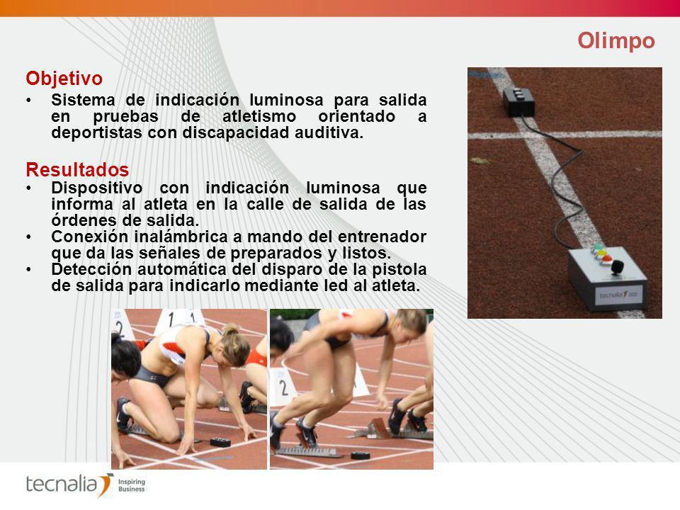 Olimpo Objetivo Sistema de indicación luminosa para salida en pruebas de atletismo orientado a deportistas con discapacidad auditiva.