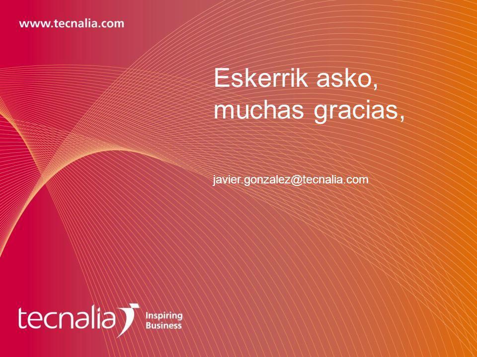 Eskerrik asko, muchas gracias, javier.gonzalez@tecnalia.com