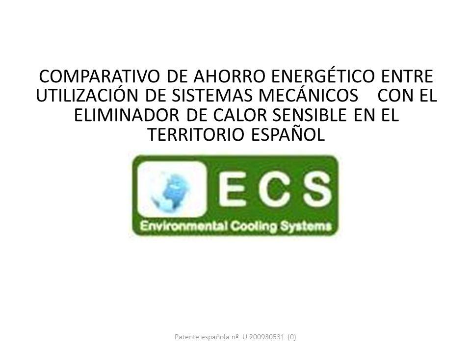COMPARATIVO DE AHORRO ENERGÉTICO ENTRE UTILIZACIÓN DE SISTEMAS MECÁNICOS CON EL ELIMINADOR DE CALOR SENSIBLE EN EL TERRITORIO ESPAÑOL E. C. S. Patente