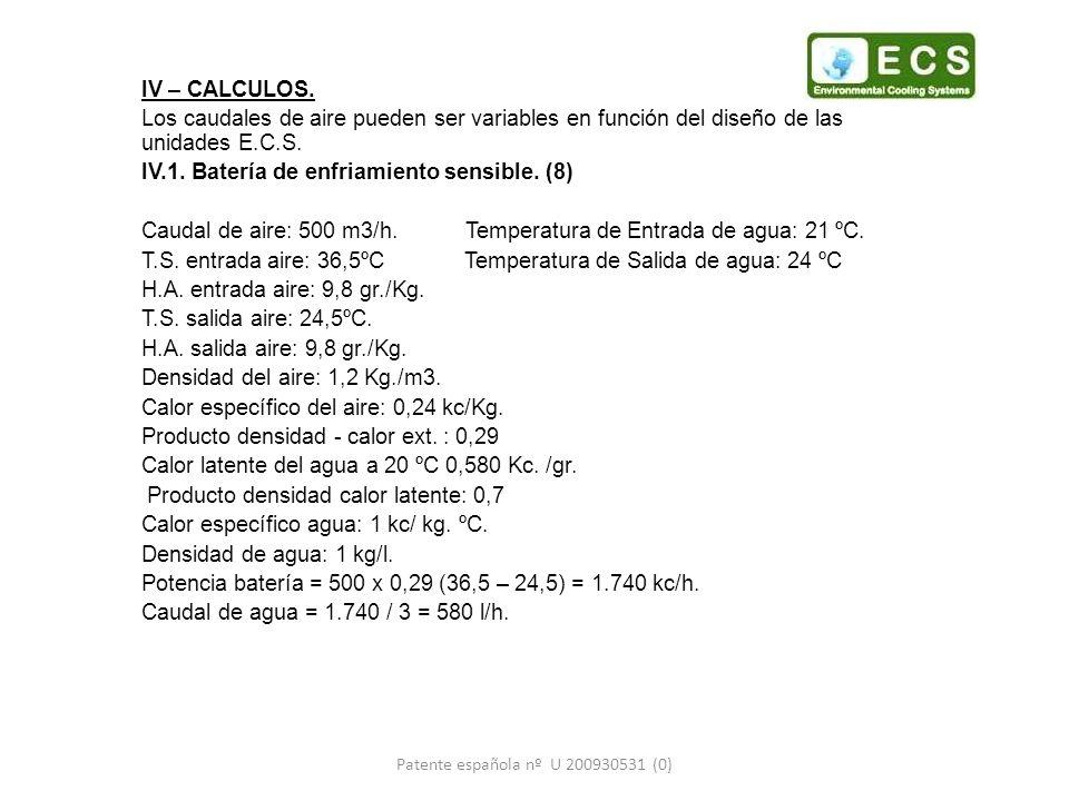 IV – CALCULOS. Los caudales de aire pueden ser variables en función del diseño de las unidades E.C.S. IV.1. Batería de enfriamiento sensible. (8) Caud