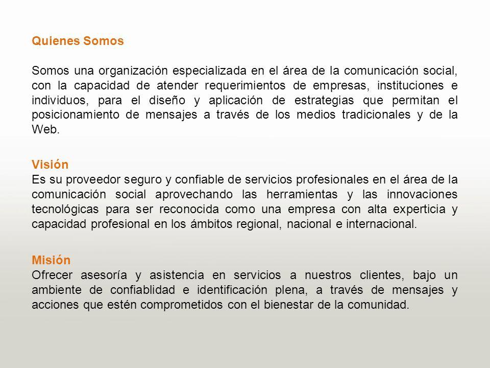 Servicios Nuestros servicios est á n dirigidos a la producci ó n de proyectos de innovaci ó n, tecnolog í a para medios de comunicaci ó n impresos, radiales y audiovisuales, entre los m á s destacados ofertamos: Asesor í as en el á rea de las comunicaciones sociales.