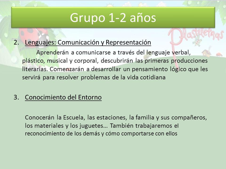 Grupo 1-2 años 2.Lenguajes: Comunicación y Representación Aprenderán a comunicarse a través del lenguaje verbal, plástico, musical y corporal, descubrirán las primeras producciones literarias.
