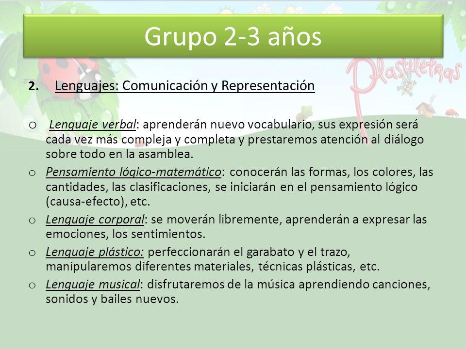 Grupo 2-3 años 2. Lenguajes: Comunicación y Representación o Lenguaje verbal: aprenderán nuevo vocabulario, sus expresión será cada vez más compleja y