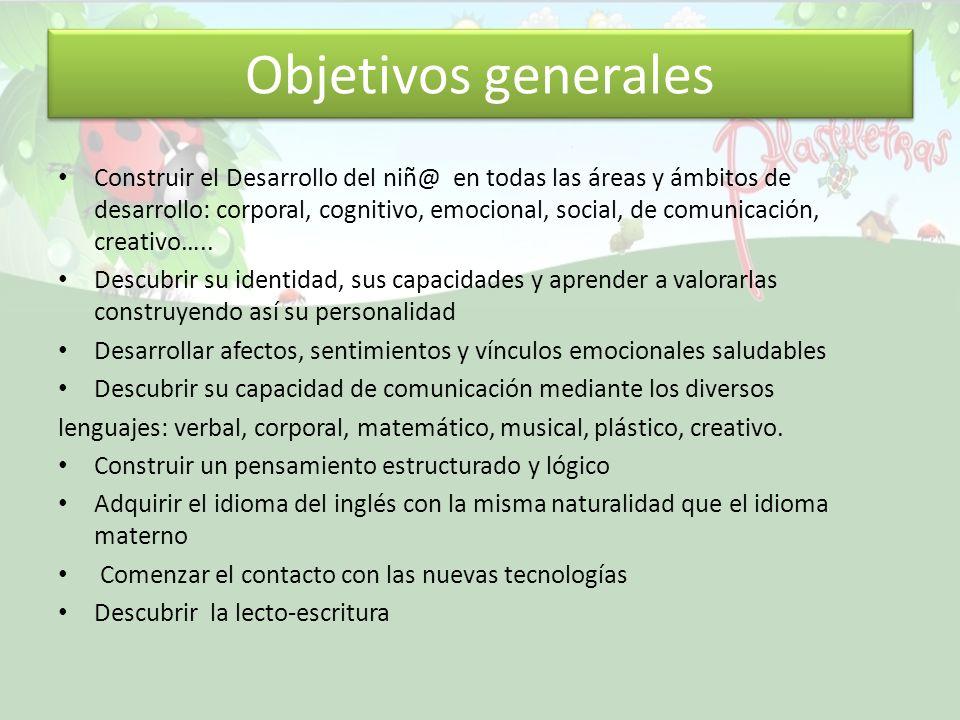 Objetivos generales Construir el Desarrollo del niñ@ en todas las áreas y ámbitos de desarrollo: corporal, cognitivo, emocional, social, de comunicación, creativo…..
