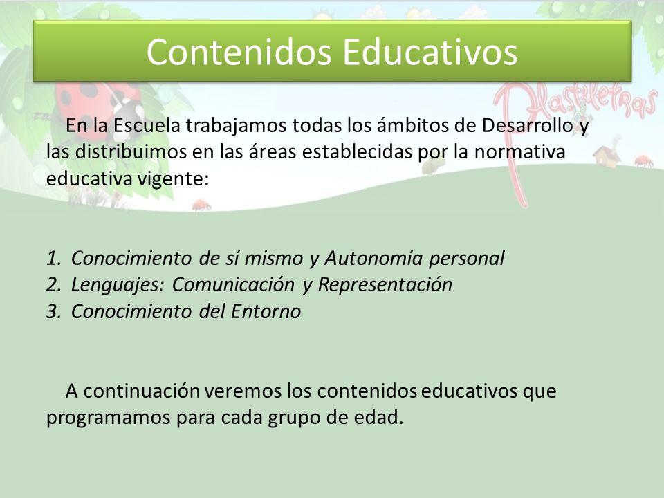 Contenidos Educativos En la Escuela trabajamos todas los ámbitos de Desarrollo y las distribuimos en las áreas establecidas por la normativa educativa
