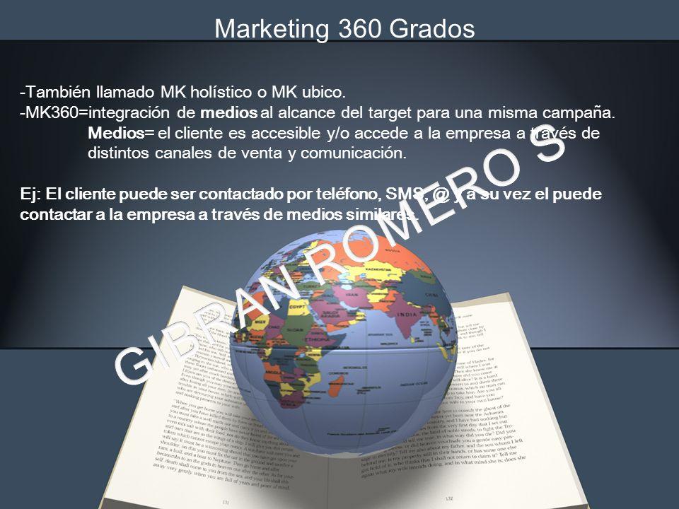 Marketing 360 Grados -También llamado MK holístico o MK ubico. -MK360=integración de medios al alcance del target para una misma campaña. Medios= el c