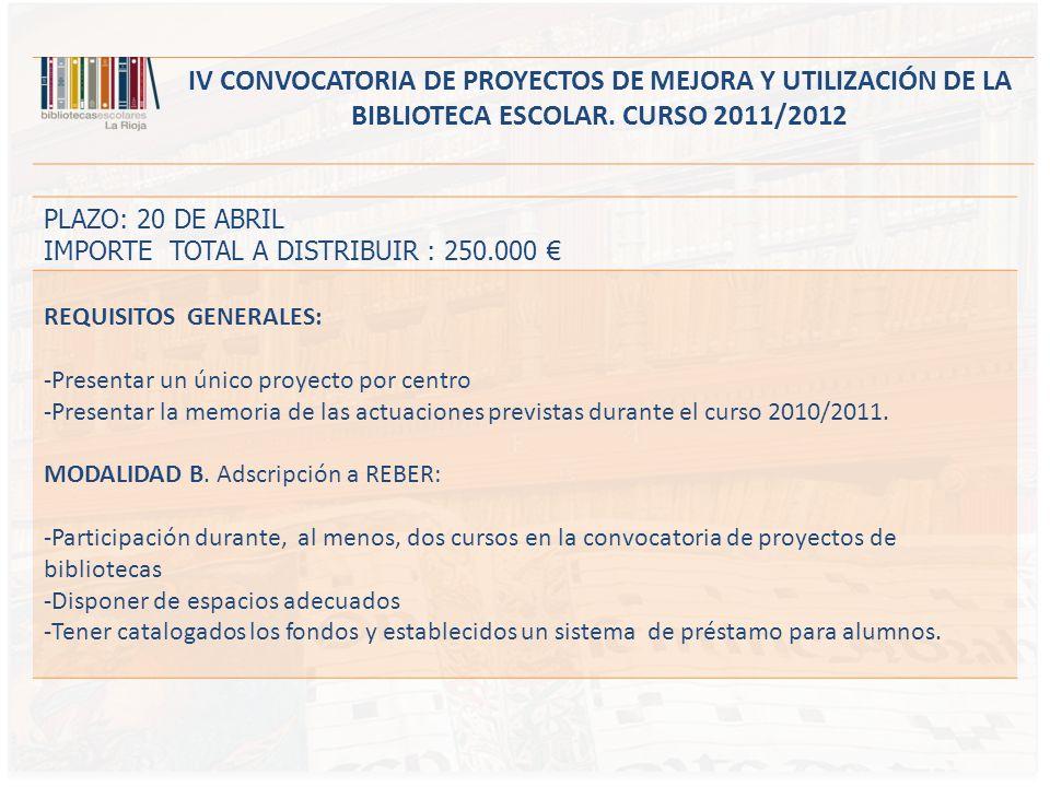 PLAZO: 20 DE ABRIL IMPORTE TOTAL A DISTRIBUIR : 250.000 REQUISITOS GENERALES: -Presentar un único proyecto por centro -Presentar la memoria de las actuaciones previstas durante el curso 2010/2011.