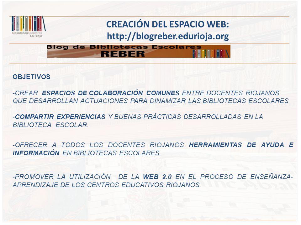 OBJETIVOS -CREAR ESPACIOS DE COLABORACIÓN COMUNES ENTRE DOCENTES RIOJANOS QUE DESARROLLAN ACTUACIONES PARA DINAMIZAR LAS BIBLIOTECAS ESCOLARES -COMPARTIR EXPERIENCIAS Y BUENAS PRÁCTICAS DESARROLLADAS EN LA BIBLIOTECA ESCOLAR.