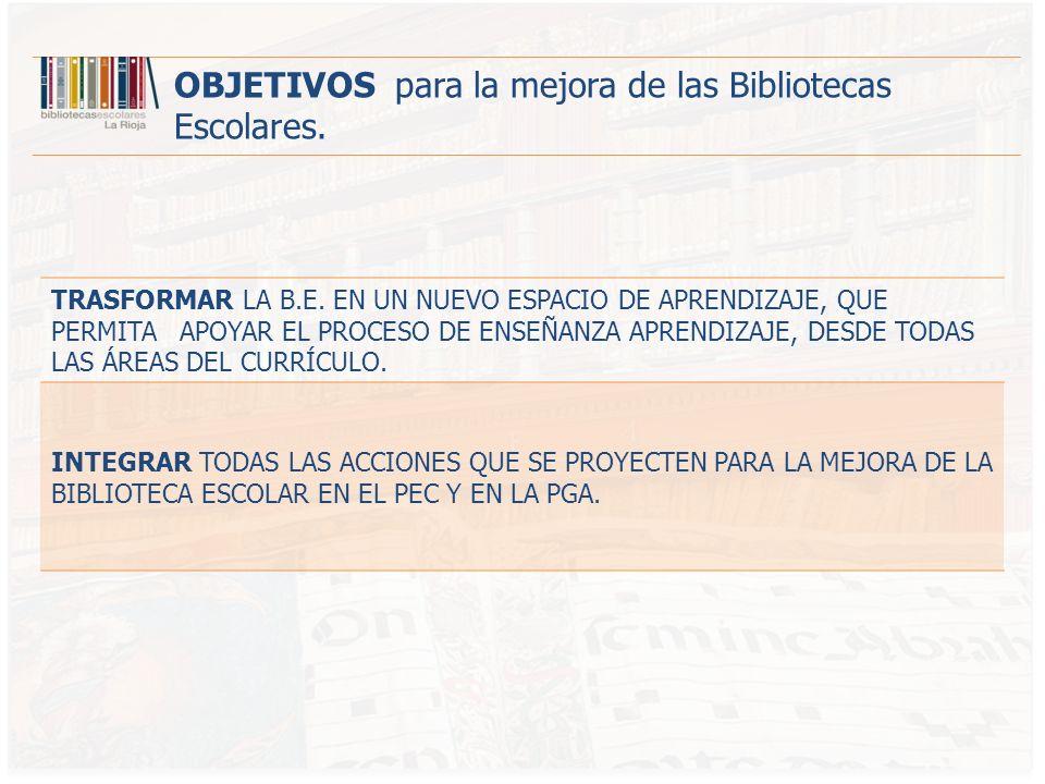 DOTAR ECONÓMICAMENTE A LOS CENTROS PARA QUE DESARROLLEN PROYECTOS DE MEJORA EN LA BIBLIOTECA ESCOLAR.