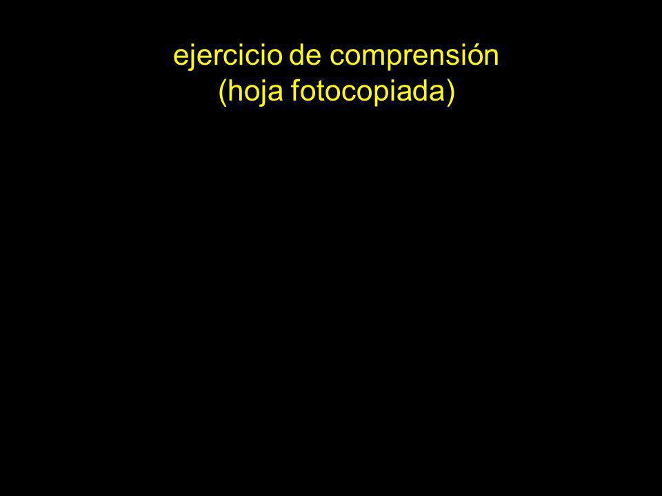 ejercicio de comprensión (hoja fotocopiada)